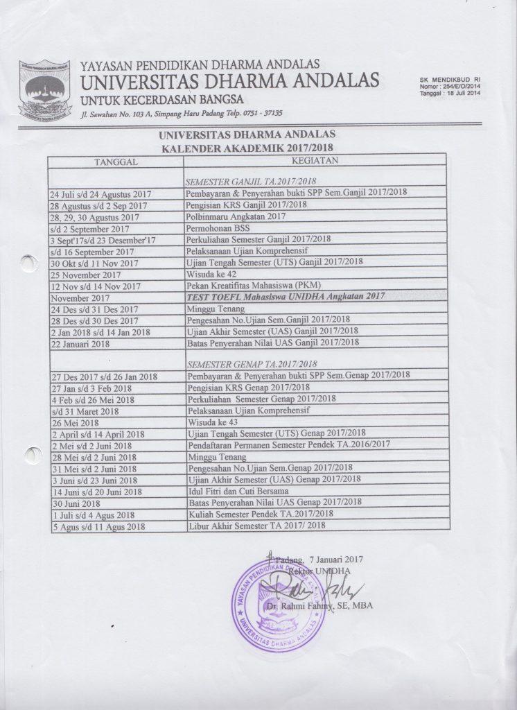 kalender akademik unidha 2017-2018